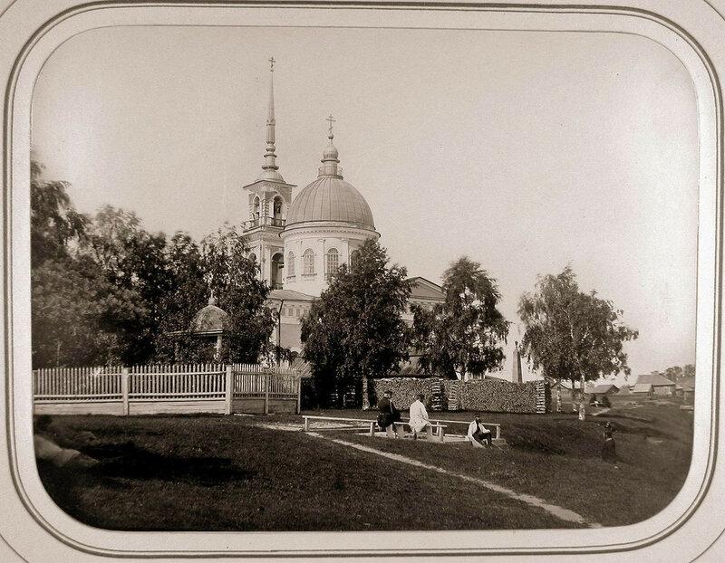 1865 Лодейное Поле. Вид новой каменной церкви с колокольней.jpg