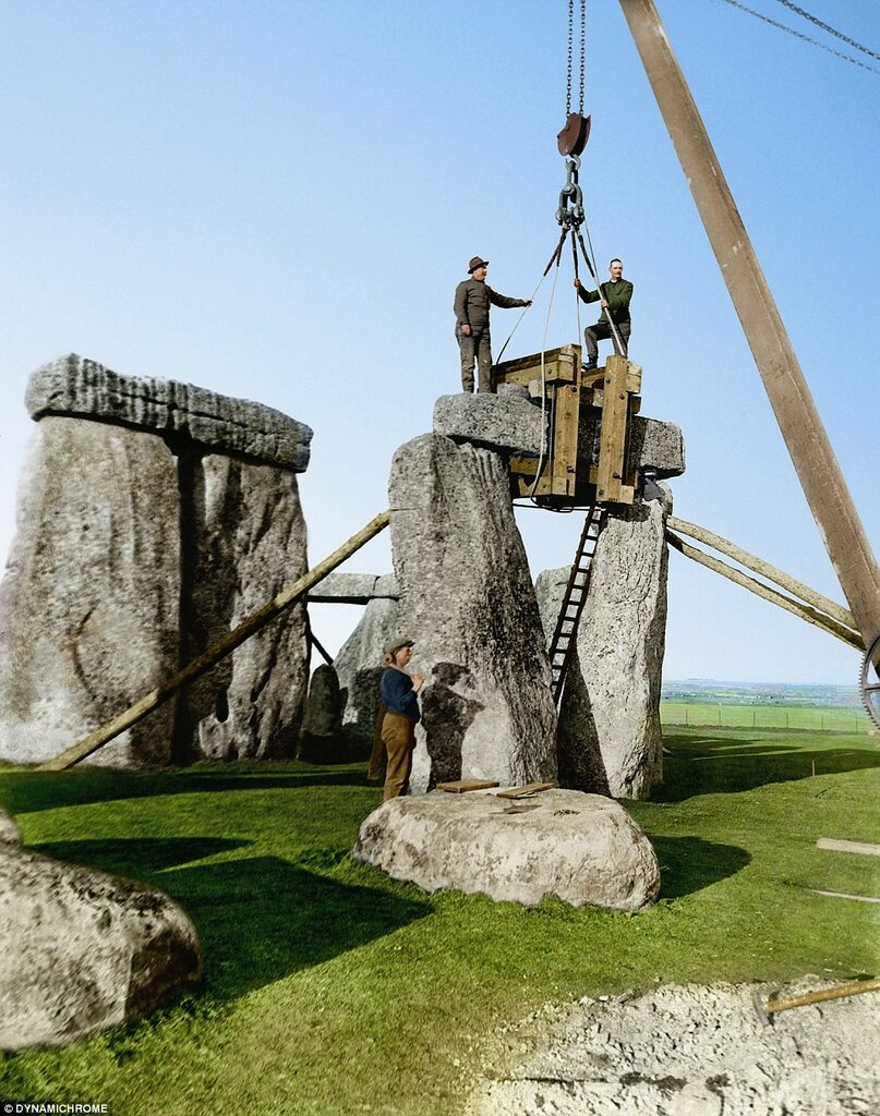 A view of a trilithon being re-erected during renovations at Stone Henge in 1919 and 1920.jpg