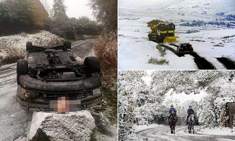 Первый снегопад создал хаос на дорогах Великобритании