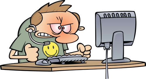 Royalty-Free (RF) Clipart Illustration of an Angry Computer Support Worker Baning His Fists On His Desk