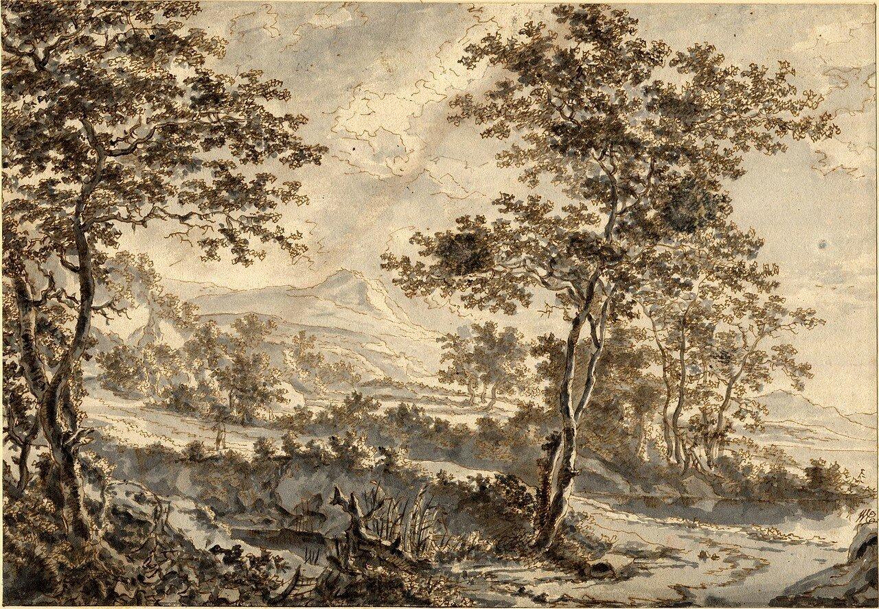 Пейзаж с деревьями на берегу озера (1633-1652) (191 х 275 мм) (Лондон, Британский музей) (перо и коричневые чернила, размывка серым).jpg