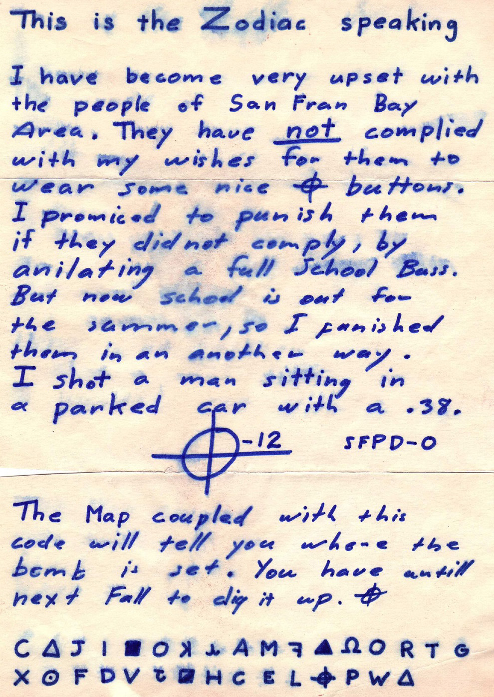 Зодиак совершал убийства в период с декабря 1968 по октябрь 1969 года. Согласно заявлениям само