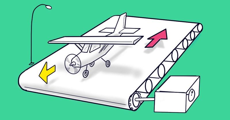 83 % людей отвечают на эту задачу неправильно! Сможет ли взлететь самолет с транспортера? (5 фото)