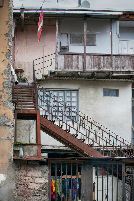 Tbilisi, Georgia - May 19, 2016: The Balcony Of An Old House In The Old Part Of Tbilisi - The Capital Of Georgia.