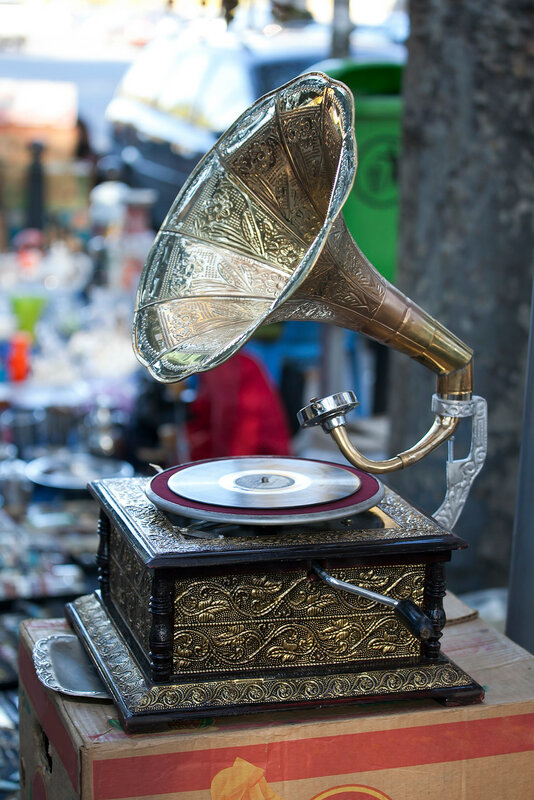 Accordion, gramophone, old phone and music accessories for sale at the Dry Bridge Market in Tbilisi. Dry bridge today is most famous flea and souvenir market in Georgia