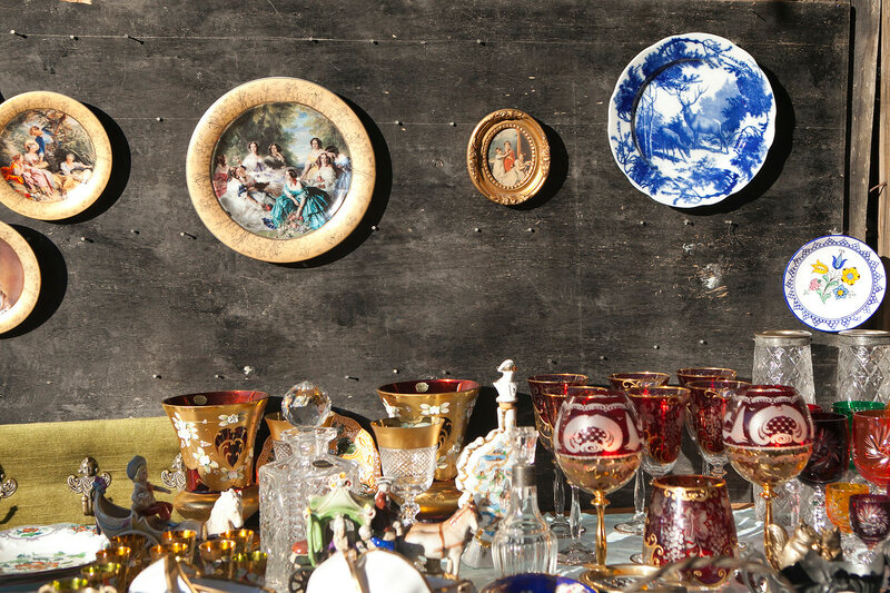 Antiques of the nineteenth century for sale on a flea market in Tbilisi
