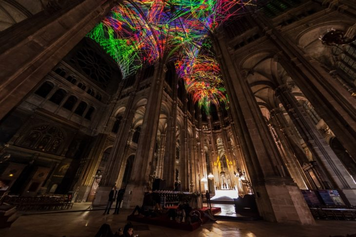 Showstopping Light Installation In A Paris Gothic Church
