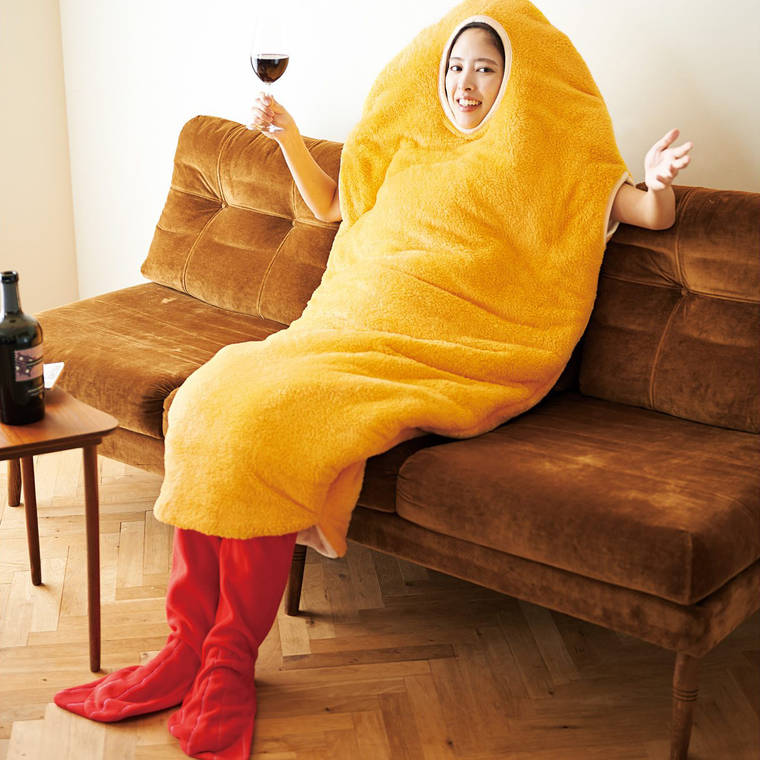 Tempura Sleeping Bag - Chilling at home disguised as a giant breaded shrimp