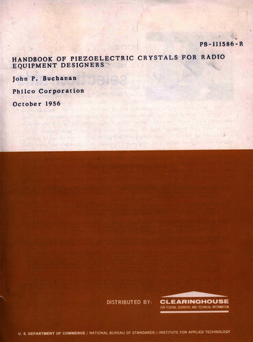 Handbook of Peizoelectric Crystals - John P. Buchanan - Book Cover