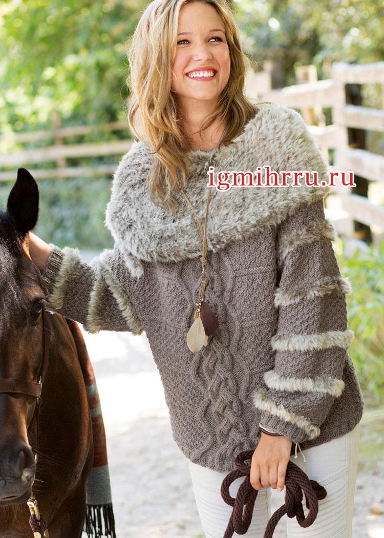 Пуловер с воротником из вязаного искусственного меха. Вязание спицами