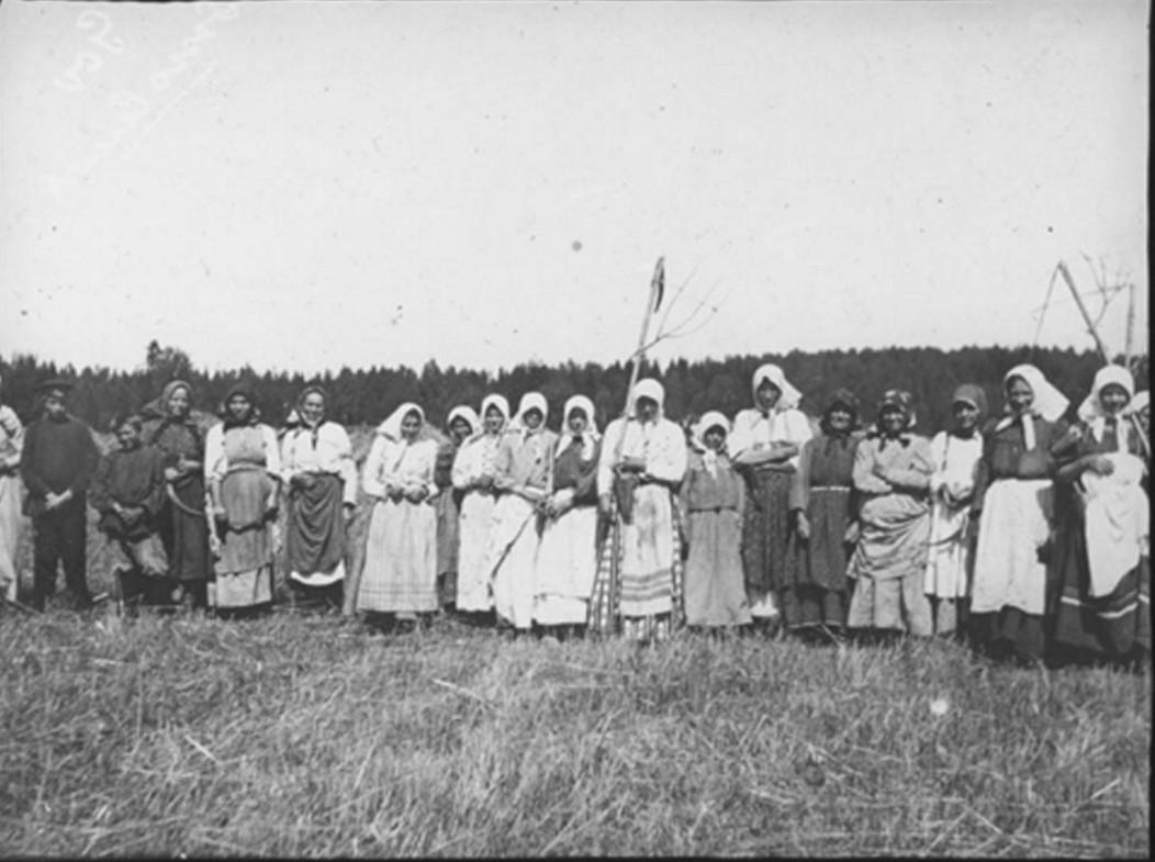 13. Группа, преимущественно из женщин, позирует для фотографии во время сбора урожая