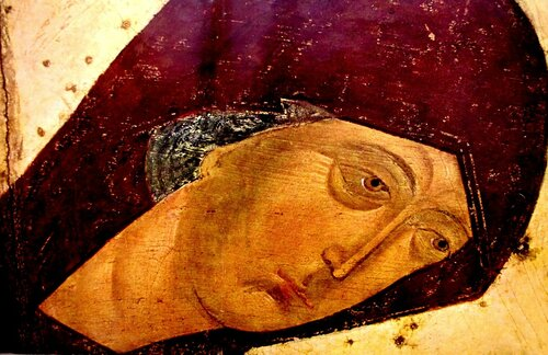 Лик Пресвятой Богородицы. Фрагмент иконы мастерской Дионисия из иконостаса собора Рождества Богородицы Ферапонтова монастыря. 1502 год.
