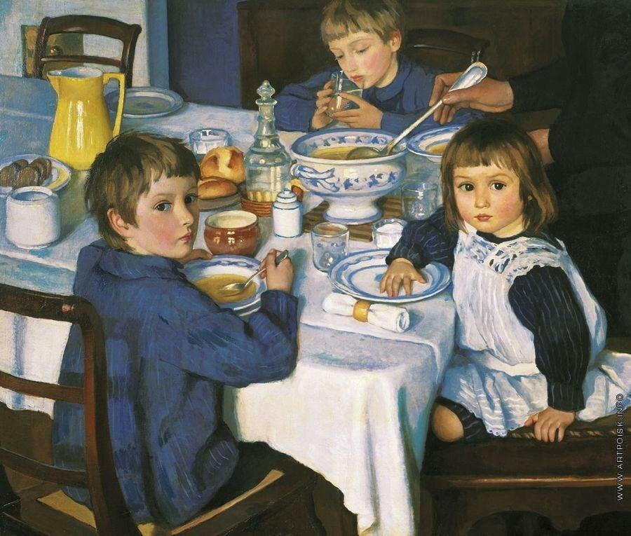 За завтраком. 1914. 88.5 x 107 см. холст, масло. Москва, Третьяковская галерея.jpg