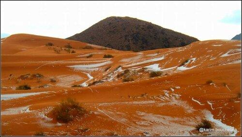 Невероятное событие - снег в пустыне!