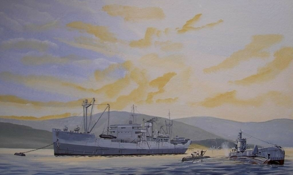 This is HMS Bonaventue, mother ship to the X Craft, at the start of the Tirpitz raid with one of the Submarines which towed the X Craft across the North Sea.