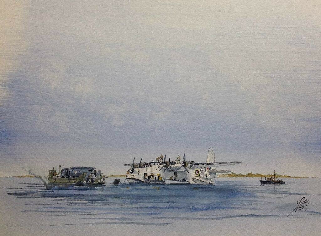 Out East. Sunderland of 88 Sqn 1949 at Direction Island, Cocos Keeling Islands, refuelling from a Matadore aboard a landing craft.