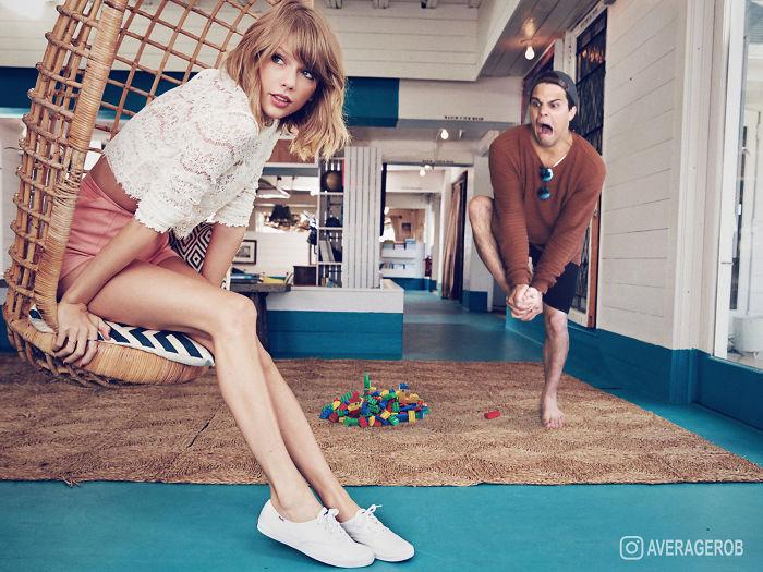Парень делает веселые снимки, добавляя себя на фото знаменитостей