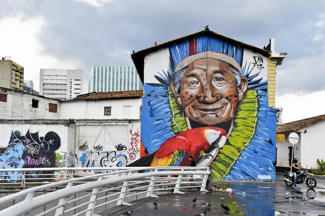 Graffiti in downtown Cali, Colombia on January 9, 2016. Considered vandalism in the past, graffiti i