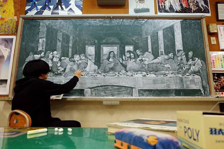 This Japanese professor recreates masterpieces on his blackboard
