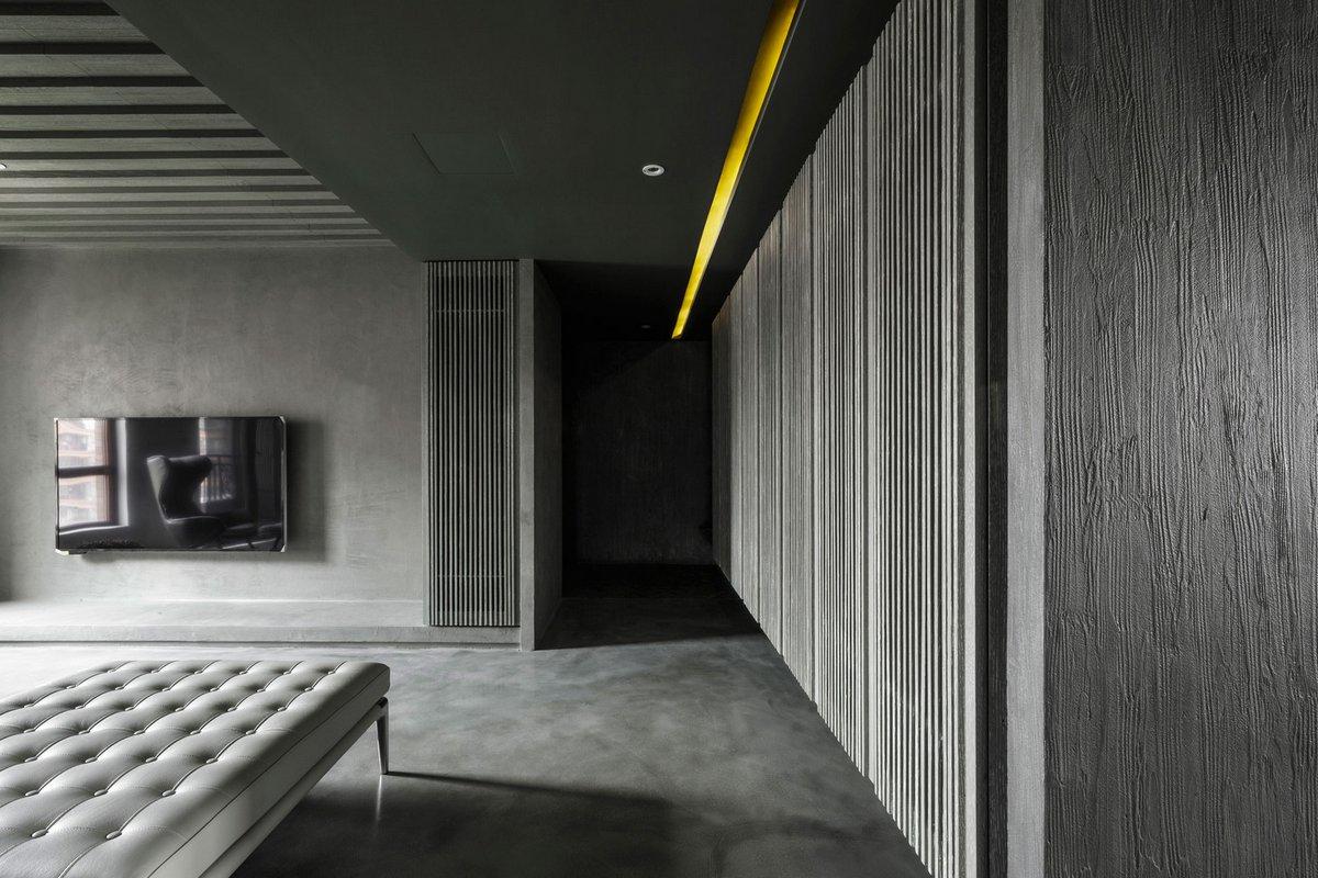 серые стены в интерьере