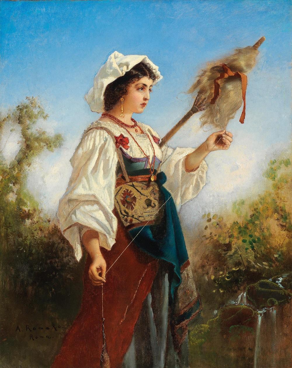 Anton Romako (Atzgersdorf 1832-1889 Vienna) Roman Girl Spinning
