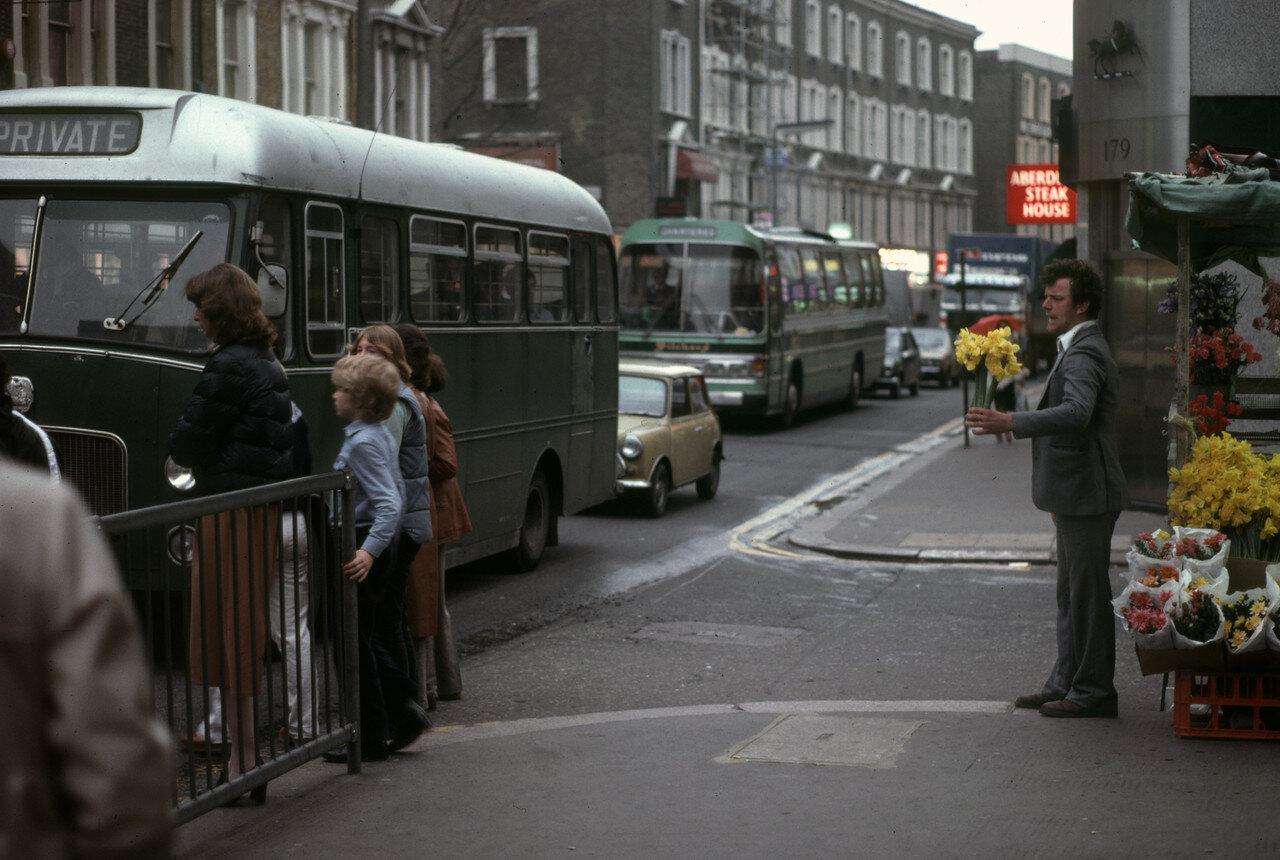 Лондон. Человек продает нарциссы возле Эрлс Корт