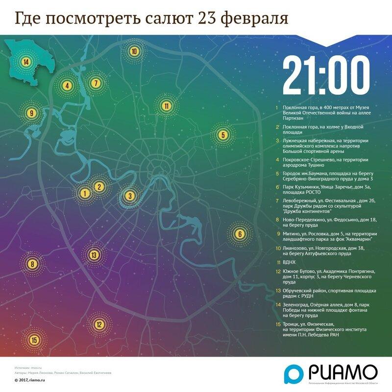 Где в Москве посмотреть салют 23 февраля