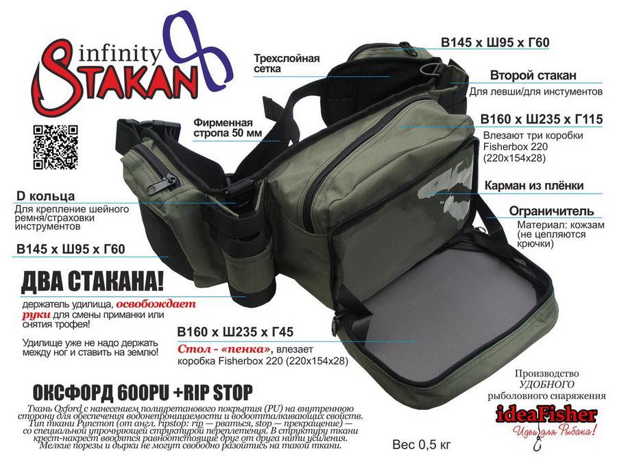 Купить ideaFisher Stakan 8 Infinity сумка с двумя держателями удилищ
