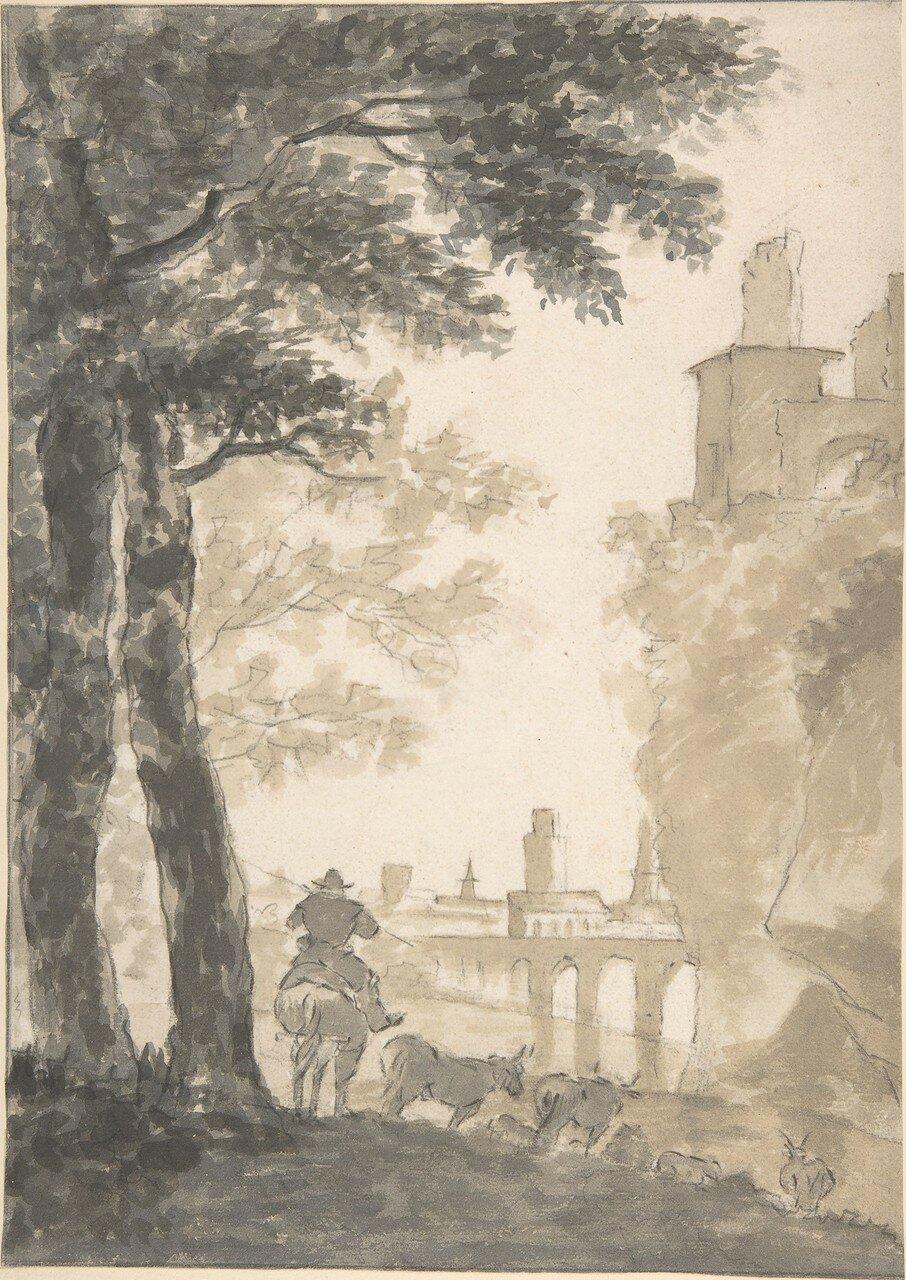 Пейзаж с пастухом, стадом и городом вдали (не датировано) (282 х 202 мм) (Нью-Йорк, Метрополитен) (кисть, коричневые и серые чернила).jpg