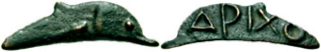 9. Бронзовый Дельфин, Ольвия, 500-300 года до н.э. Эти монеты необычной формы были распространены в