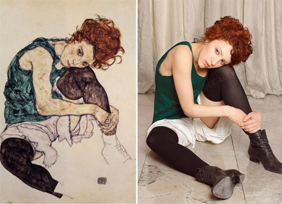 «Сидящая женщина с согнутым коленом», Эгон Шиле, 1917 год.