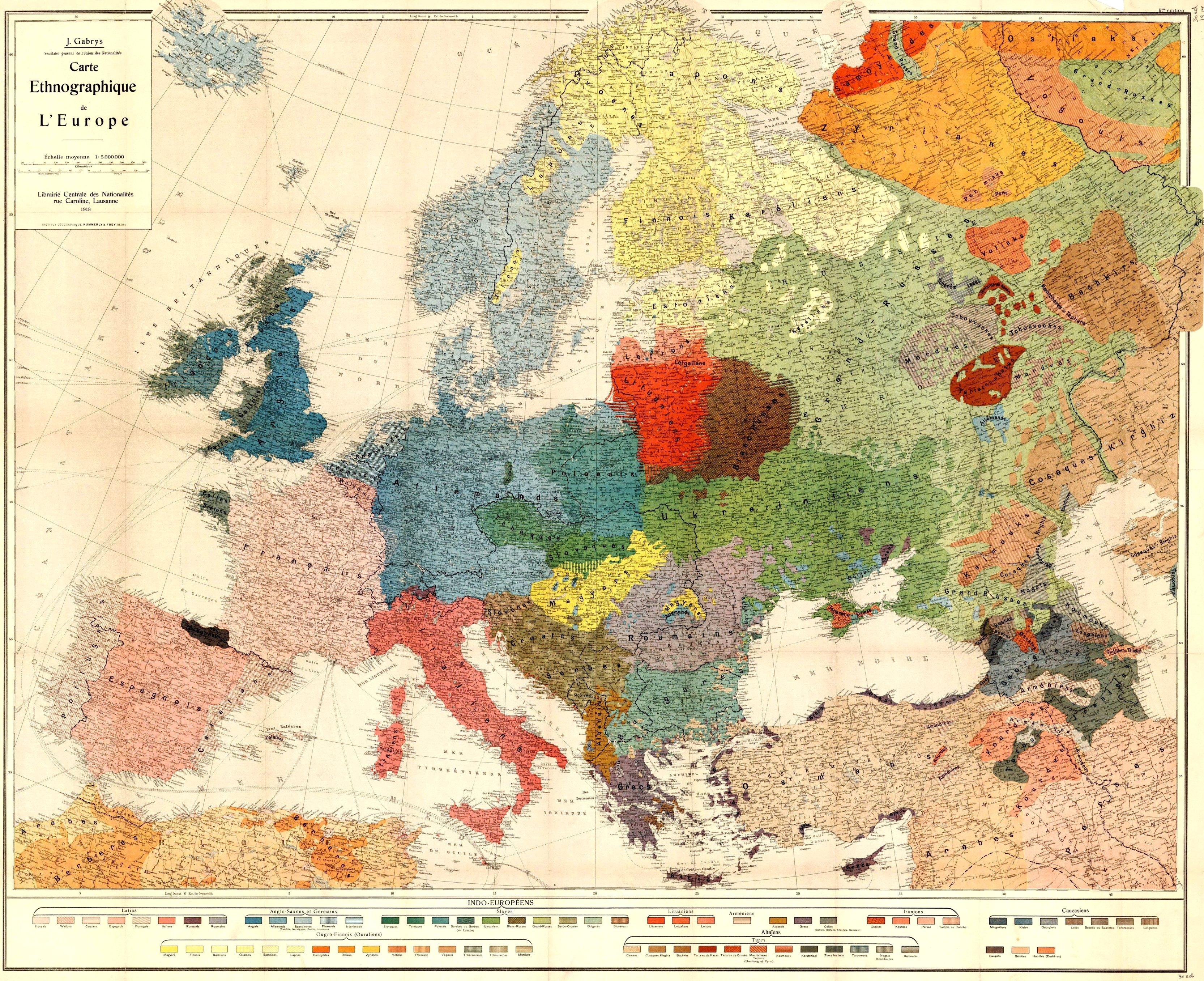 Этнографическая карта Европы 1918 года