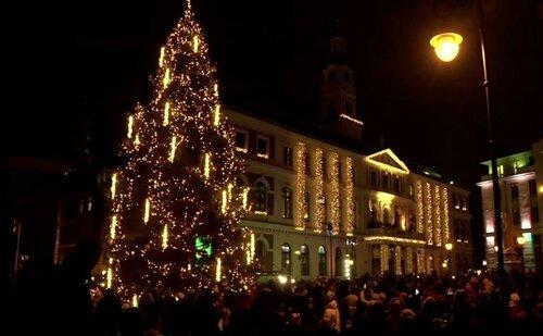 Новогодняя елка в Риге зажглась до рекорда Гиннеса