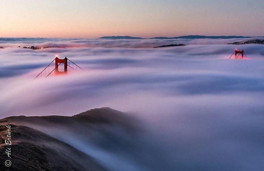 2. Незабываемое зрелище открывается рано утром, когда туман полностью окутывает Сан-Франциско и Золо