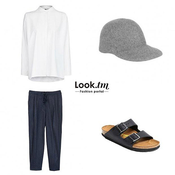 16. Рубашка Mango, брюки-слаксы H&M, сандалии Birkenstock, бейсболка Stella McCartney