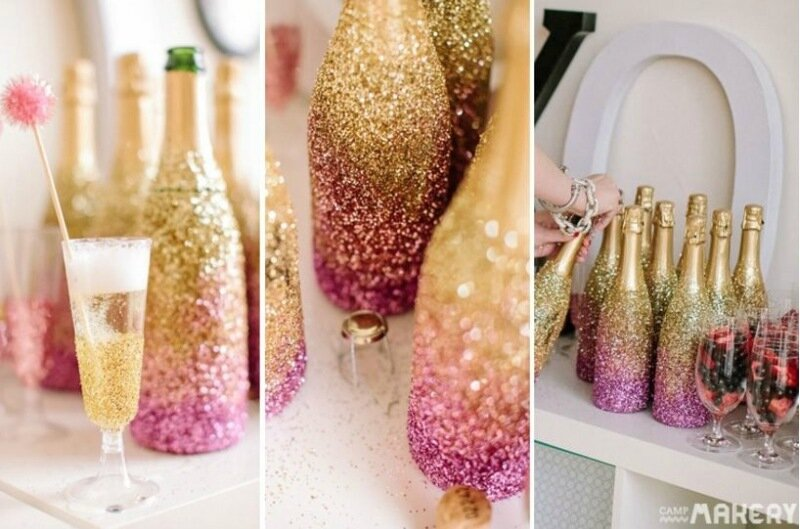 Бутылки с глиттеровым декором