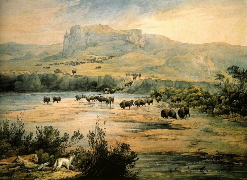 4 Landscape_with_Herd_of_Buffalo_on_the_Upper_Missouri._Watercolor_by_Karl_Bodmer_1833.jpg