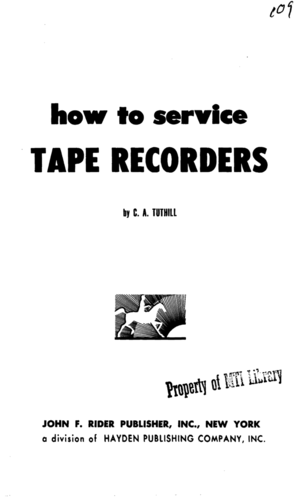 How To Service Tape Recorders - C. A. Tuthill - Book Cover