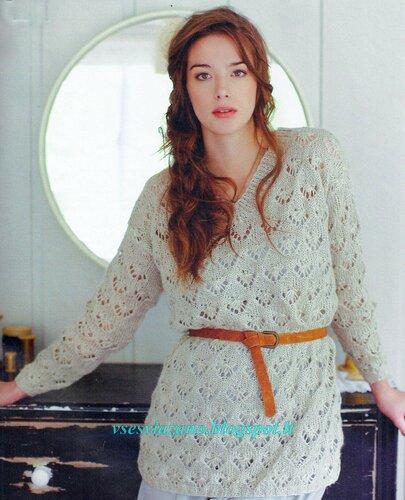 Пуловер с ажурным узором из льняной пряжи