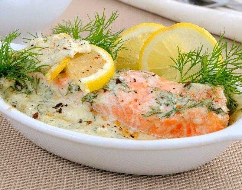 Красная рыба в сливочном соусе в духовке   праздничный стол