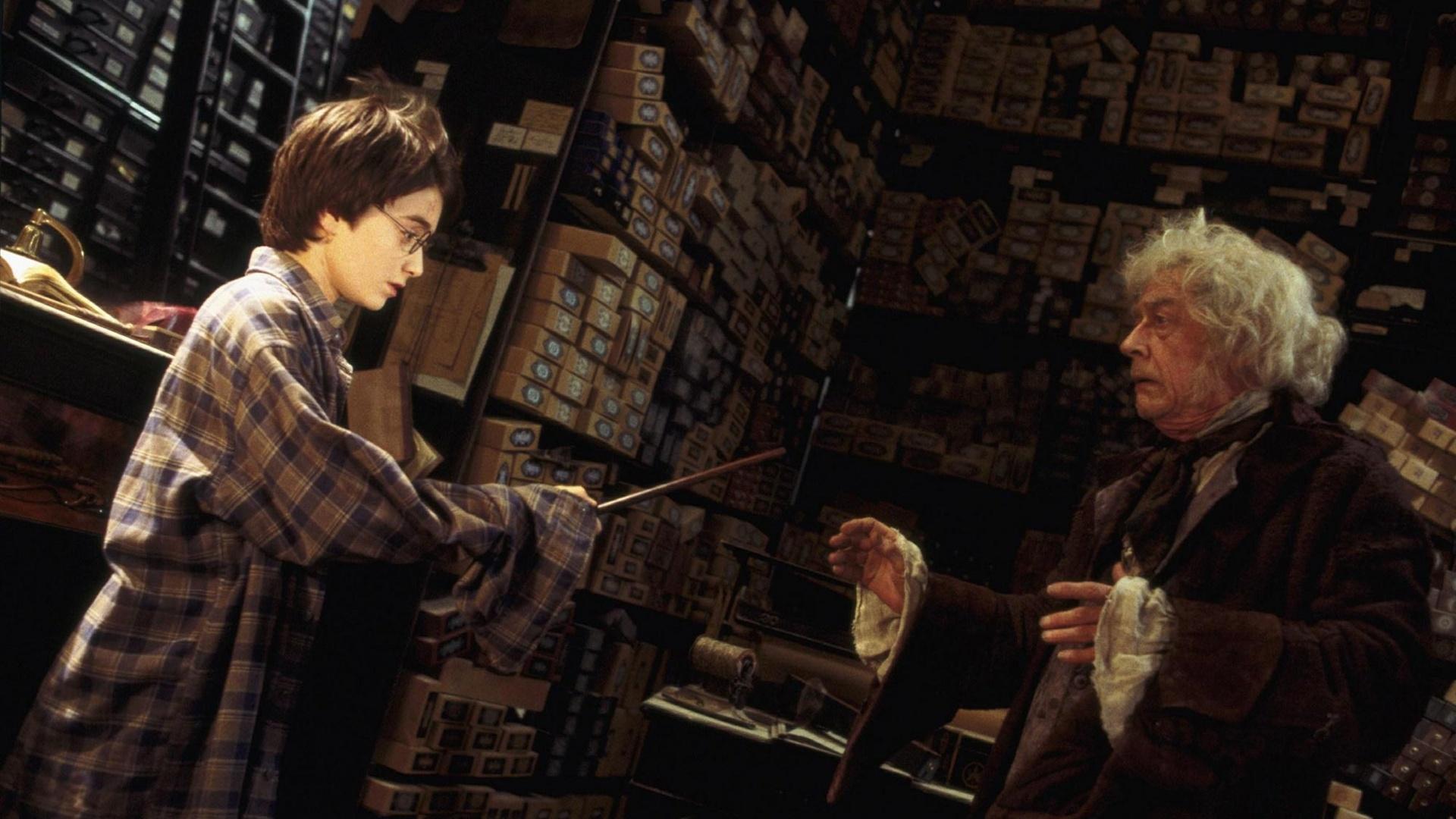 Херт предстает в роли мистера Олливандера — невозмутимого хозяина магазина волшебных палочек, которы