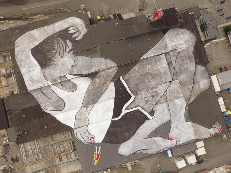 Ella and Pitr creates a huge and impressive street art creation on a 21.000 m2 rooftop