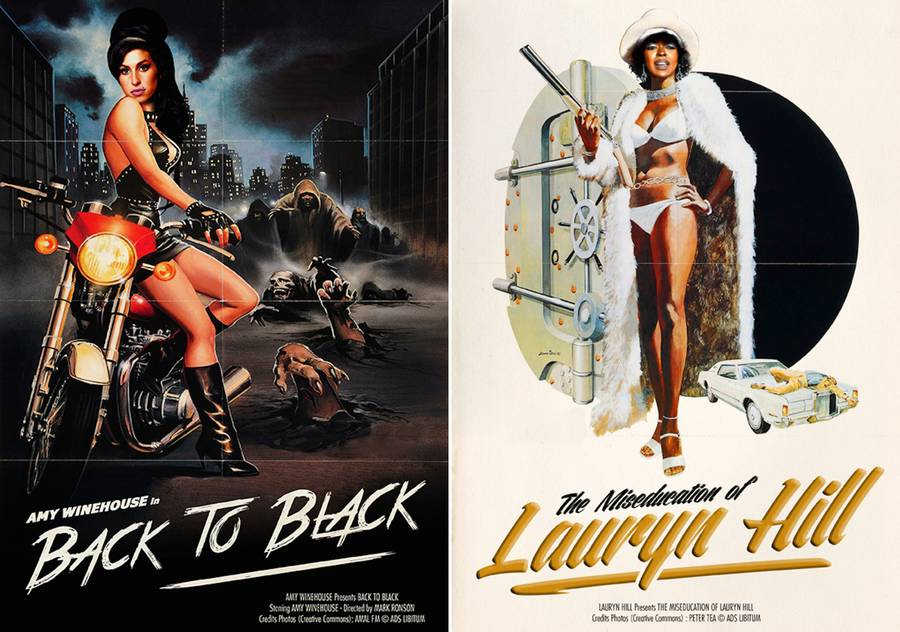 Famous Music Hits Revisited into Movie Posters
