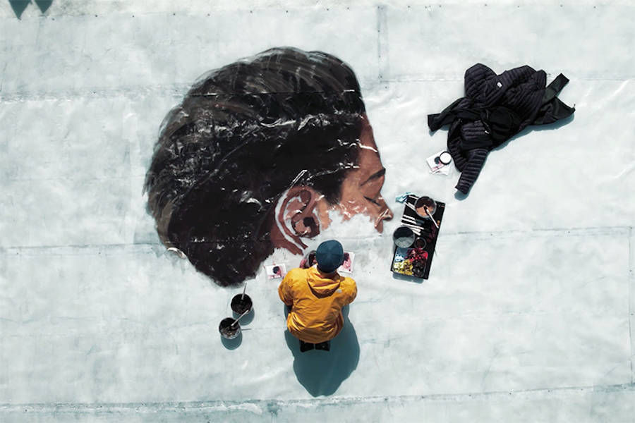 Giant Portraits of a Woman on Ice (5 pics)
