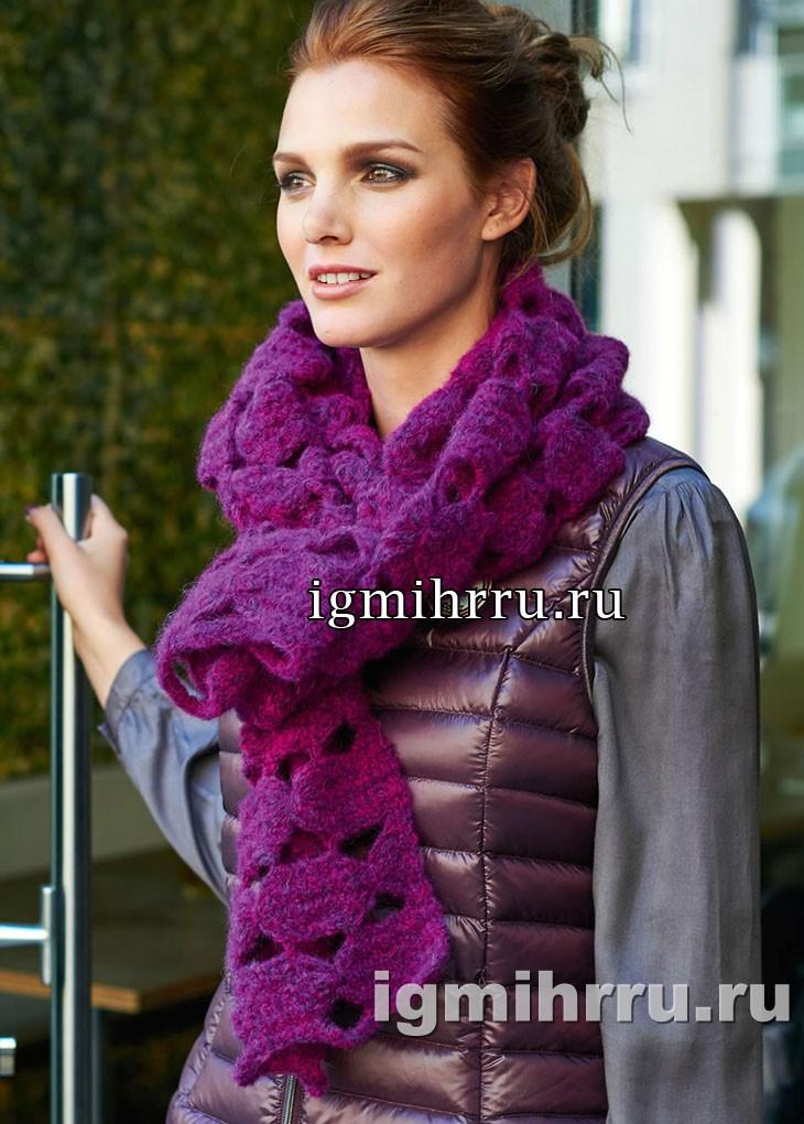 Яркий шарф с узором из лент. Вязание крючком