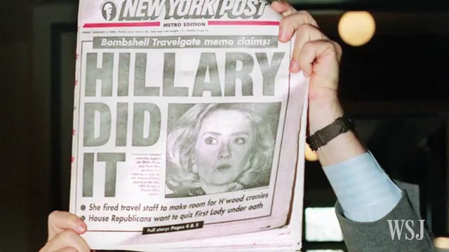 The January 5, 1996 cover of the New York Post reads «Hillary Did It», at the outset of the Travelgate firings