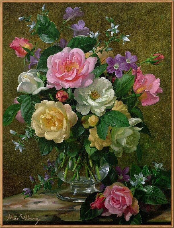 2 Розы в стеклянной вазе (Roses in a glass vase)_х.,м._Частное собрание.jpg