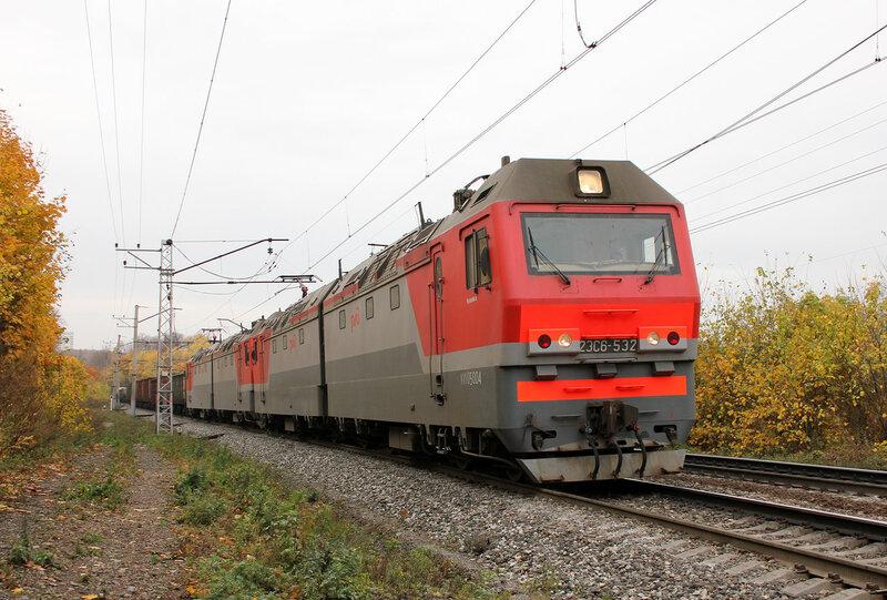2ЭС6-532 на перегоне Уфа - Черниковка