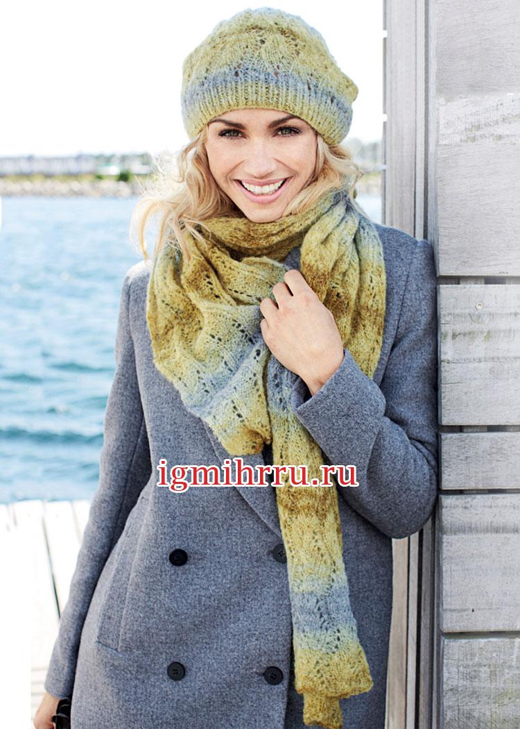 Теплый комплект с волнистым узором: шапочка и шарф. Вязание спицами