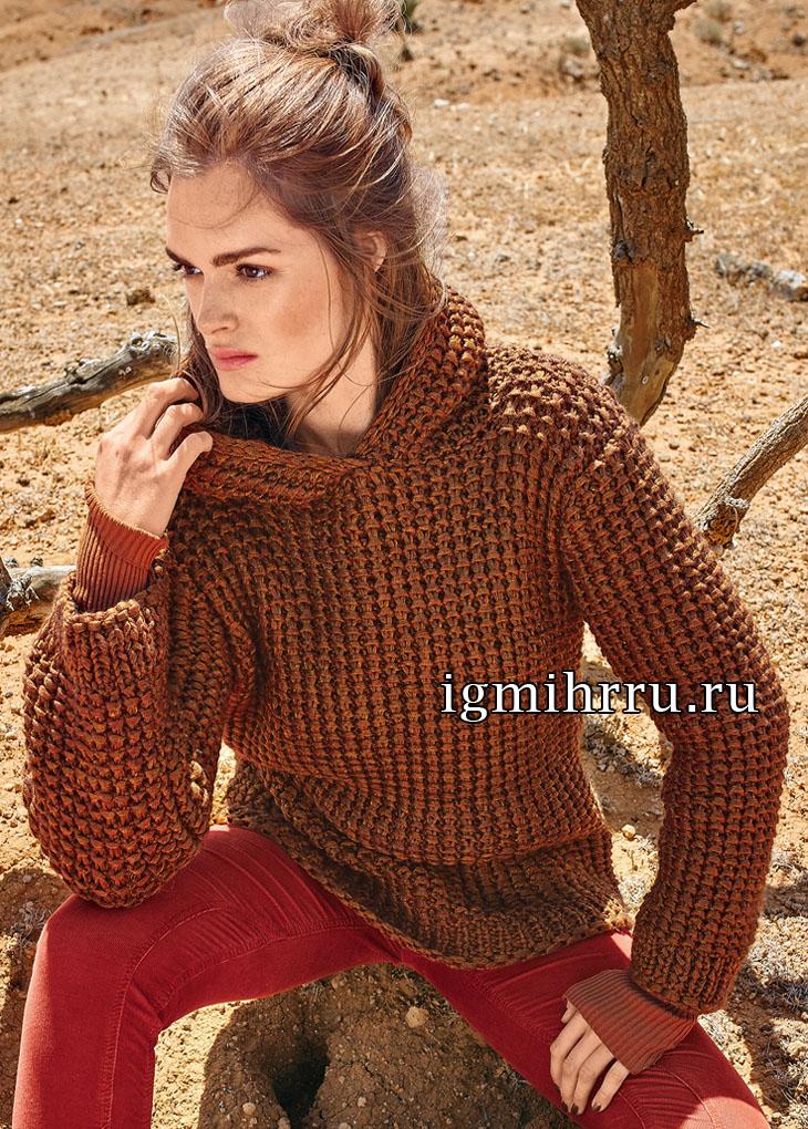 Практичный пуловер цвета меди с капюшоном. Вязание спицами